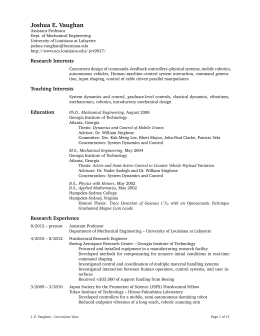 Curriculum Vitae pdf - UL-Lafayette Computing Support Services