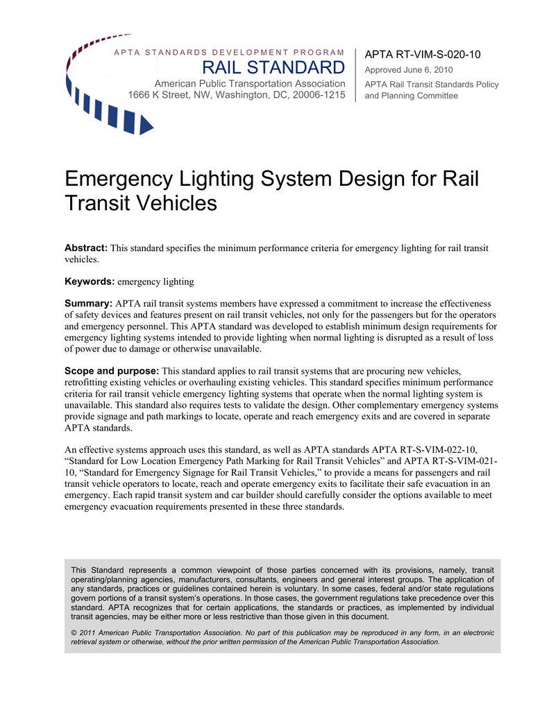 Emergency Lighting System Design For Rail Transit Vehicles Apta