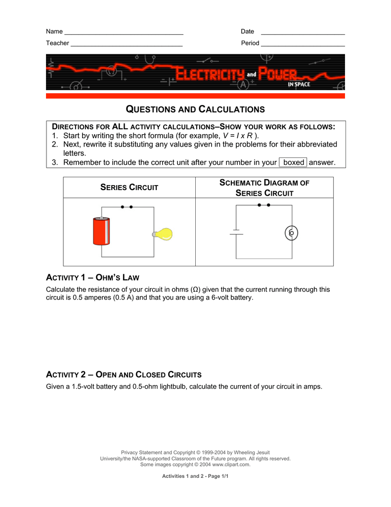 Computer Activity Questions The Amperage In A Series Circuit Is