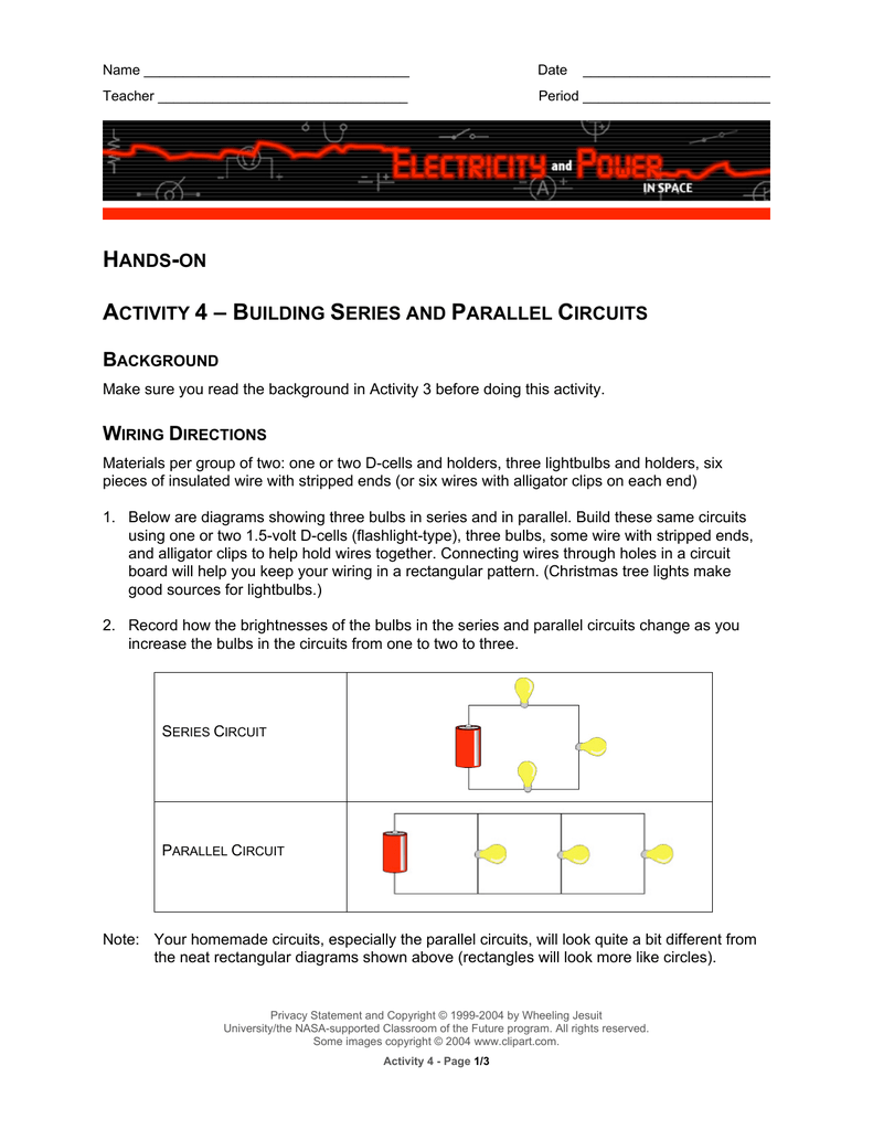 Hands On Activity 4 Building Series And Parallel Circuits Make A Circuit
