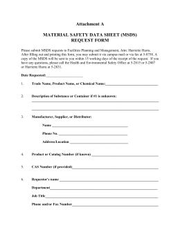 Attachment A MATERIAL SAFETY DATA SHEET (MSDS) REQUEST