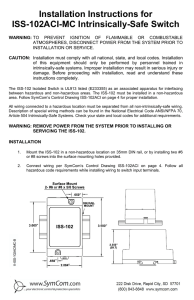 Installation Instructions for ISS-102ACI-MC Intrinsically