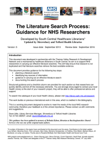 The Literature Search Process: Guidance for NHS Researchers