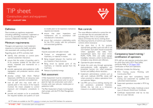 Tip Sheet construction, plant and equipment