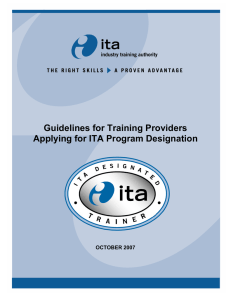 Guidelines for Training Providers Applying for ITA Program