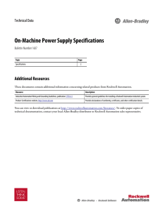 On-Machine Power Supply Specifications