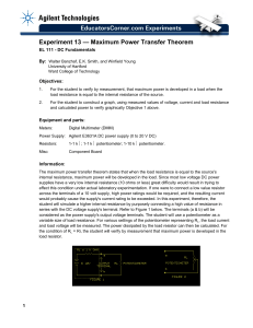 Experiment 13 — Maximum Power Transfer Theorem