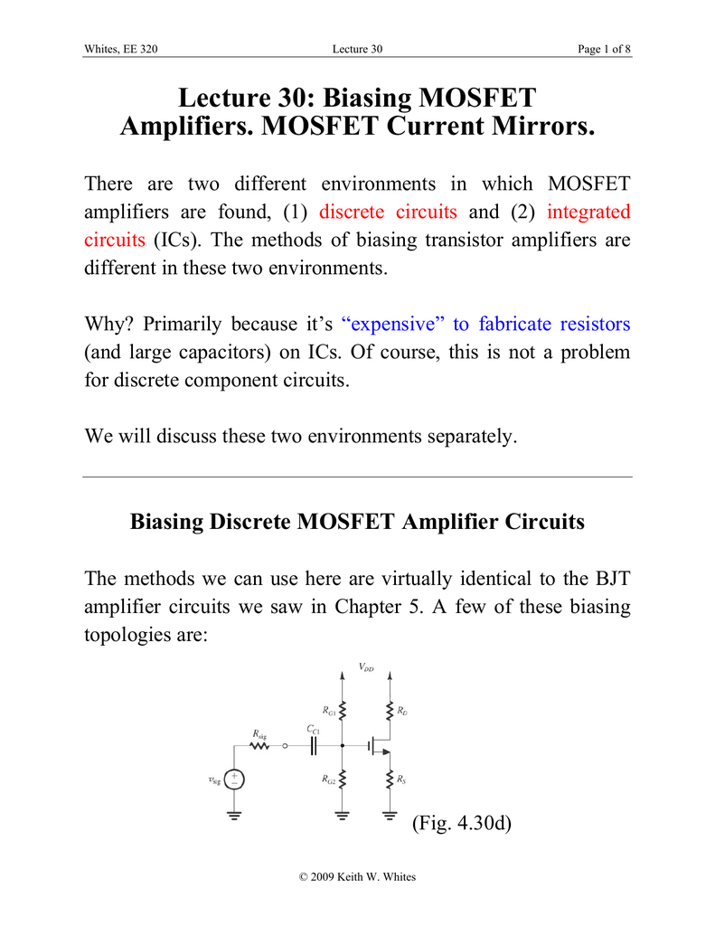 Lecture 30 Biasing Mosfet Amplifiers Current Mirrors Transistor