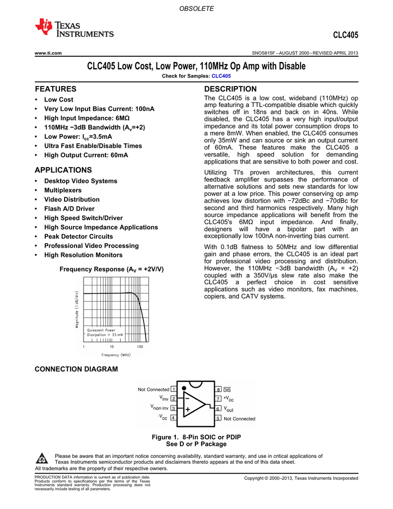 Clc405 Low Cost Power 110mhz Op Amp With Disable Rev F Representative Schematic Of A Currentfeedback Opamp Or Amplifier
