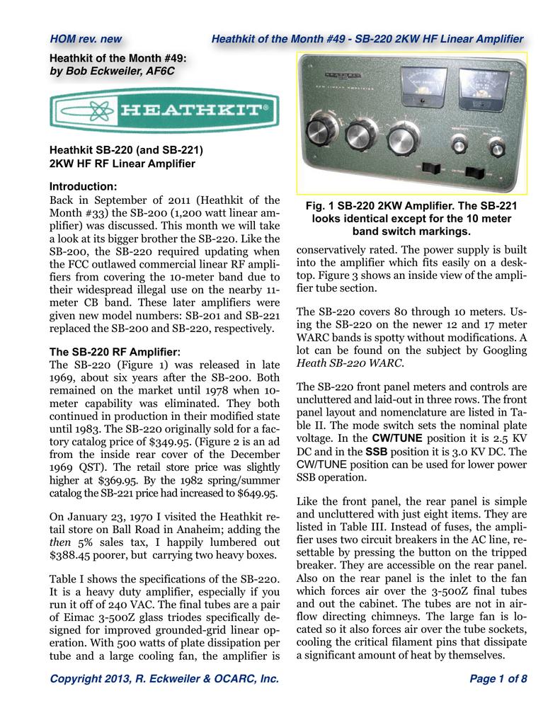 500 Watt Hf Linear Amplifier Kit