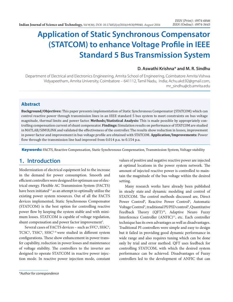 Application of Static Synchronous Compensator (STATCOM) to