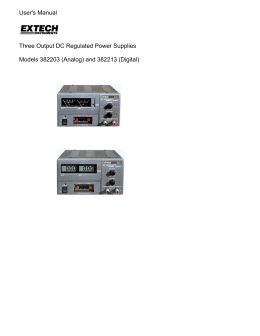 User`s Manual Three Output DC Regulated Power Supplies Models