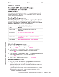 Section 20.1 Electric Charge and Static Electricity