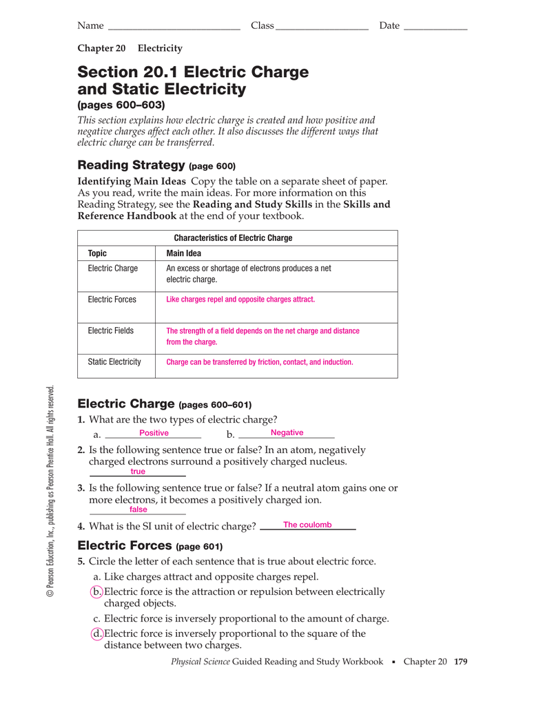Workbooks physical science guided reading and study workbook : Section 20.1 Electric Charge and Static Electricity