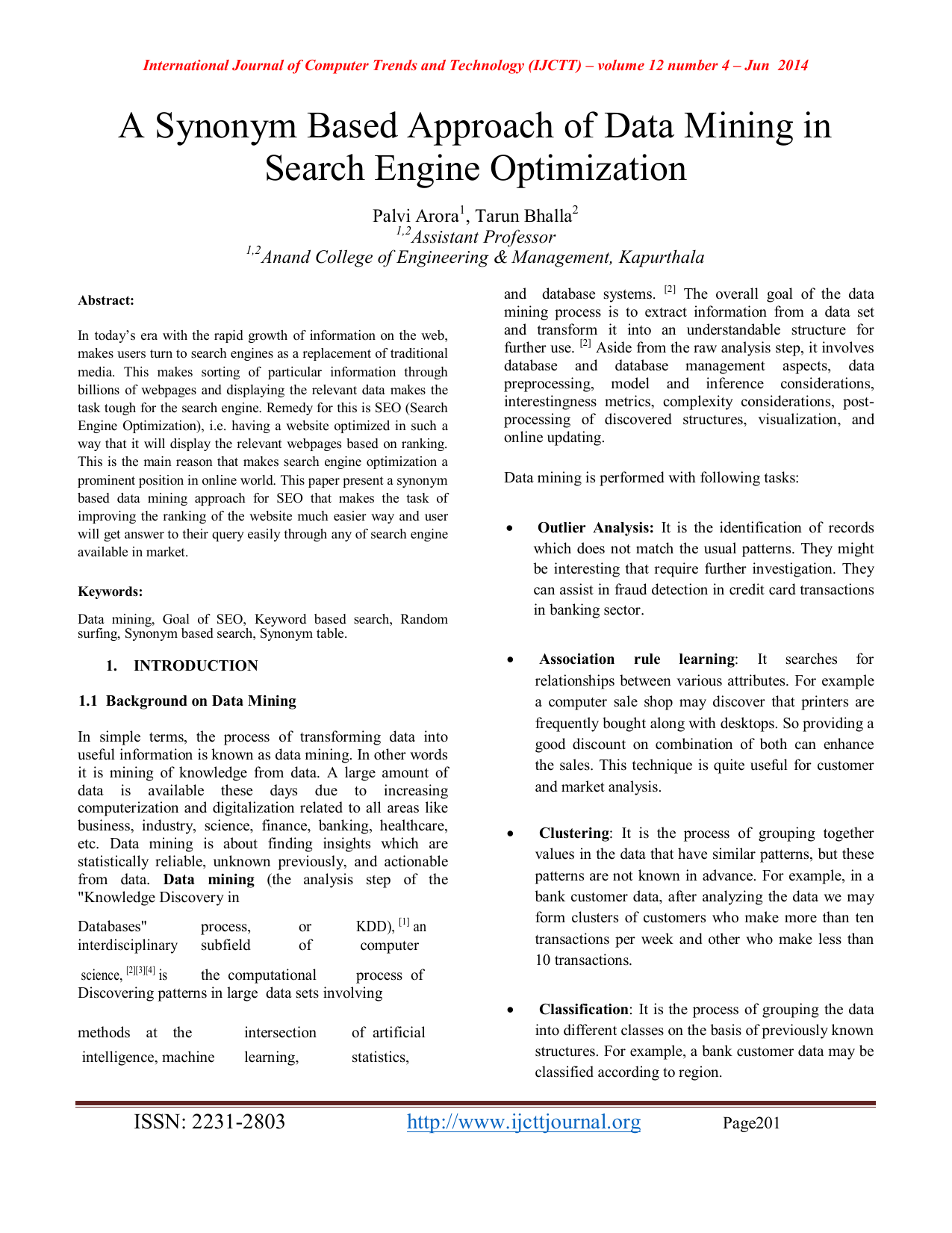 A Synonym Based Approach Of Data Mining In Search