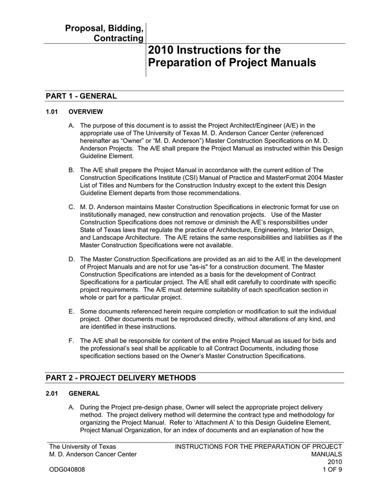 Project Manual Instructions