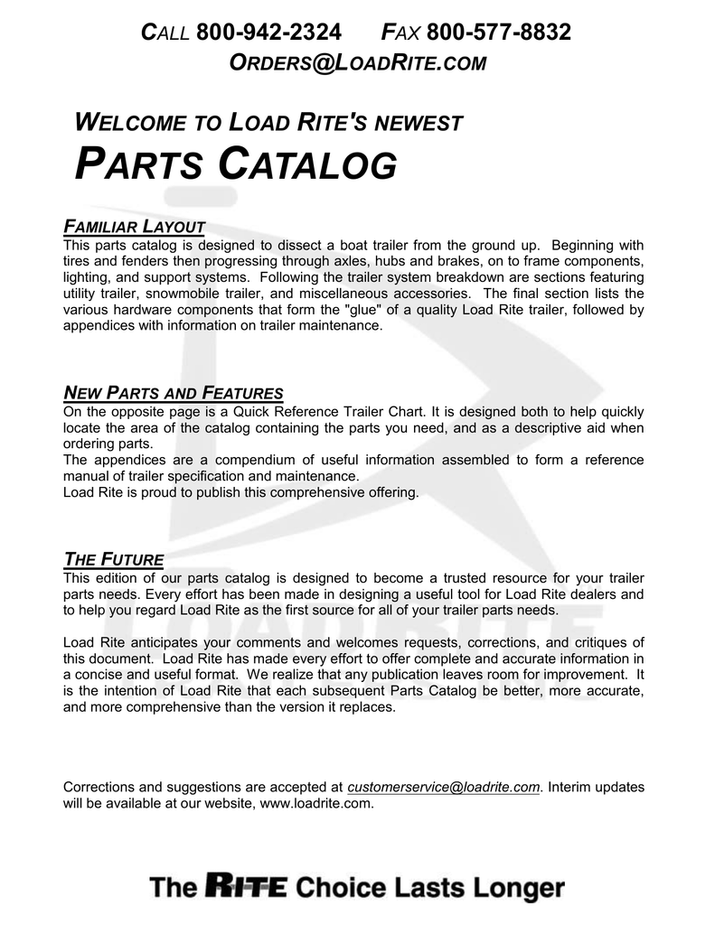 parts catalog - Load Rite Trailers, Inc. on