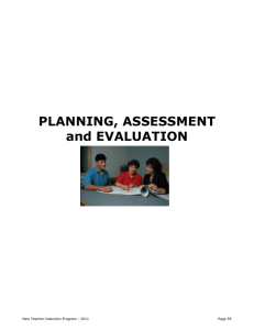 PLANNING, ASSESSMENT and EVALUATION