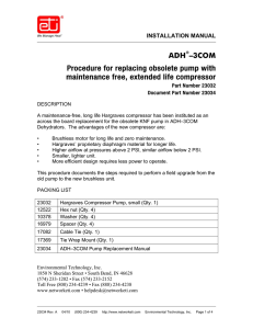 ADH®–3COM Procedure for replacing obsolete pump with