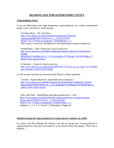 reading list for superconductivity