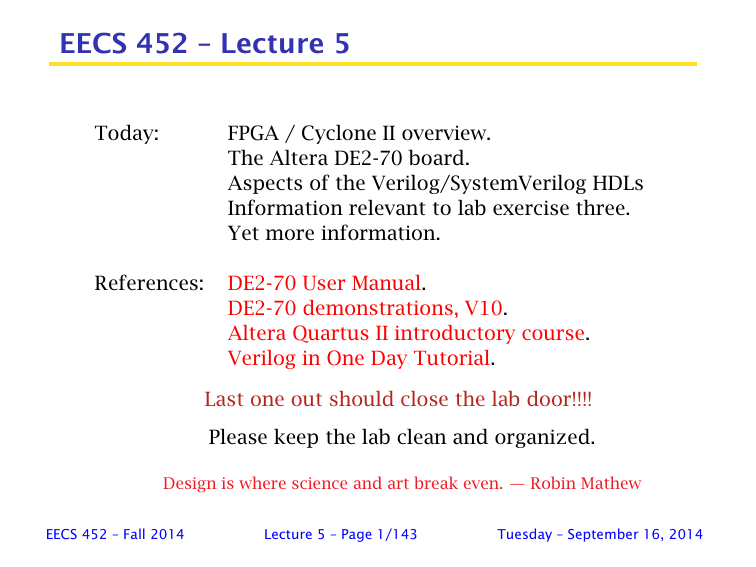 EECS 452 – Lecture 5