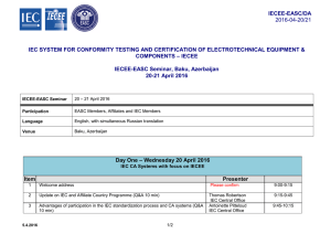 iecee-easc/da 2016-04-20/21 iec system for conformity testing and