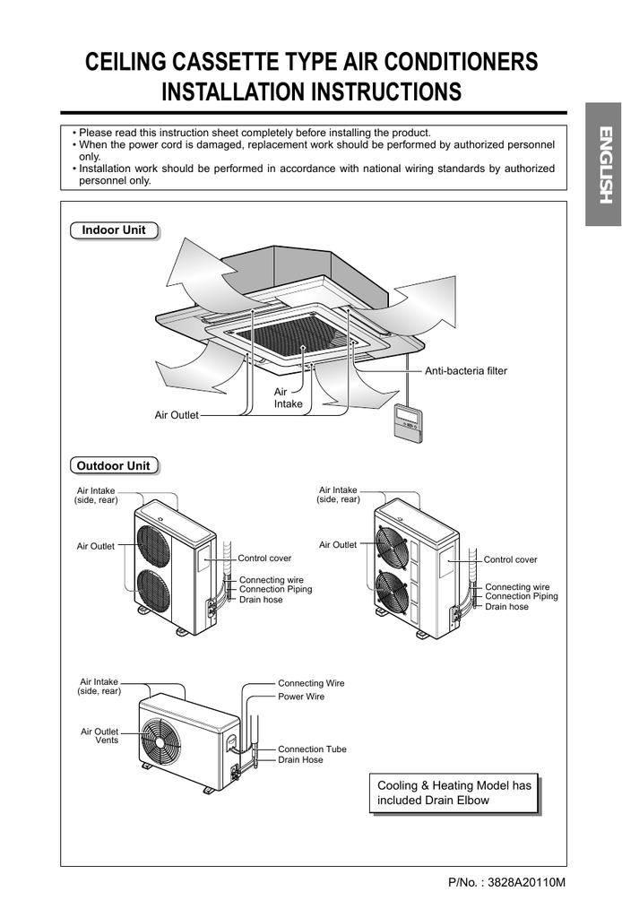 split type air conditioner wiring diagram cassette type air conditioner diagram
