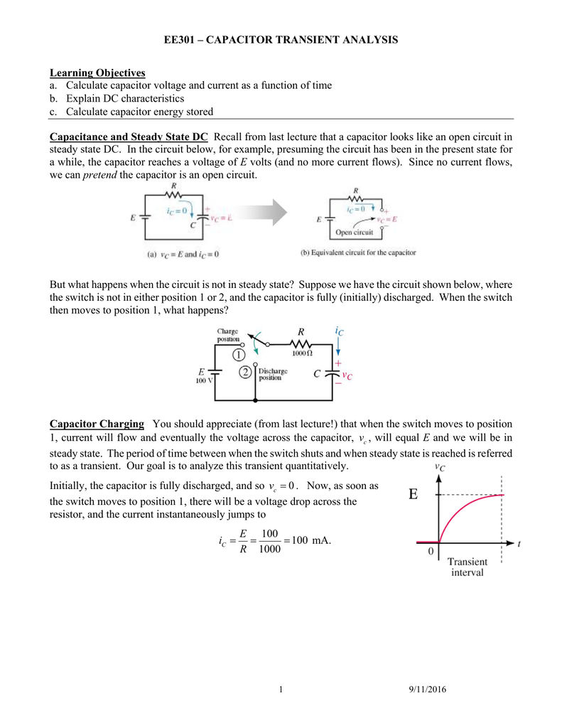 Capacitor Transient Analysis United States Naval Academy Find The Thvenin Equivalent Circuit With Respect To