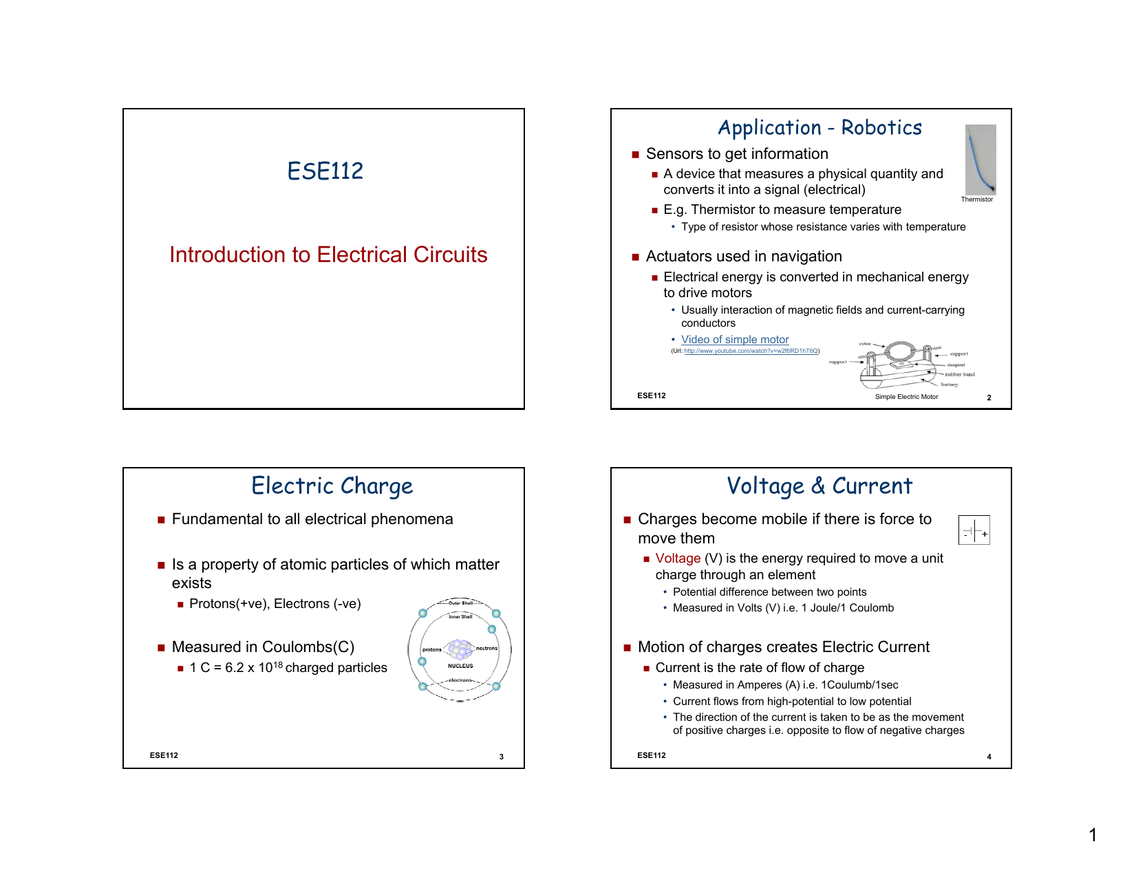 Ese112 Introduction To Electrical Circuits Electric Charge Voltage Commonly Found In Various Type Of Resistors Are A