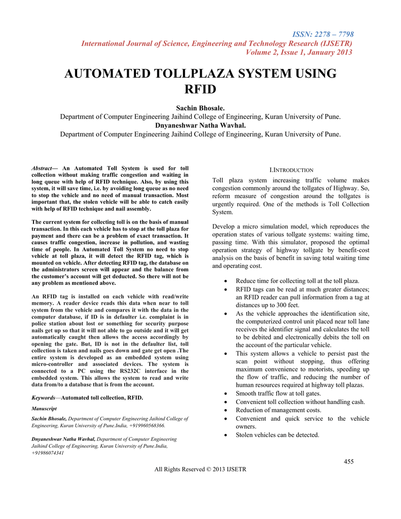 automated tollplaza system using rfid