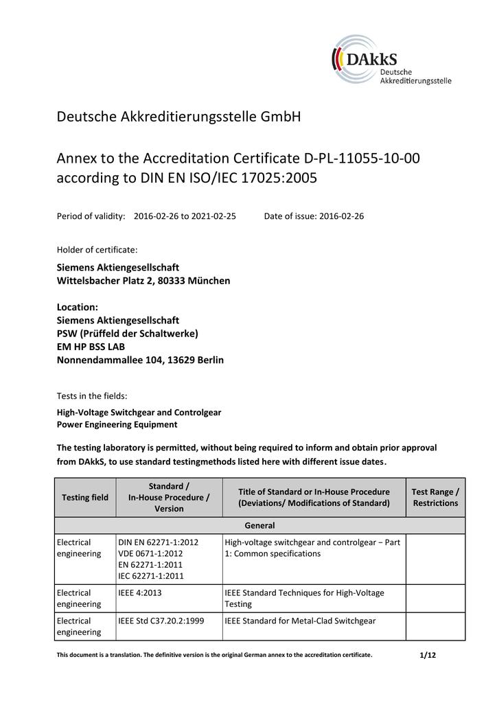 Deutsche Akkreditierungsstelle GmbH Annex