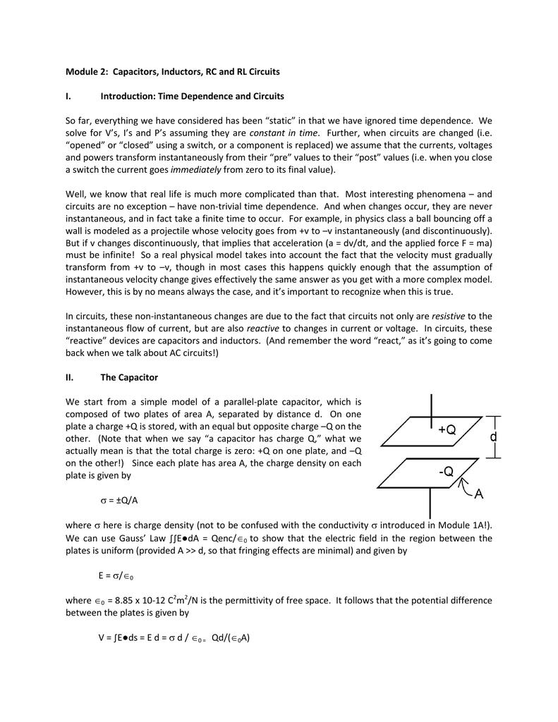 Capacitors, Inductors, RC and RL Circuits