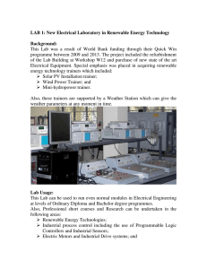 LAB 1: New Electrical Laboratory in Renewable Energy Technology