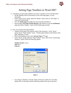 Page Numbering in Word 2007