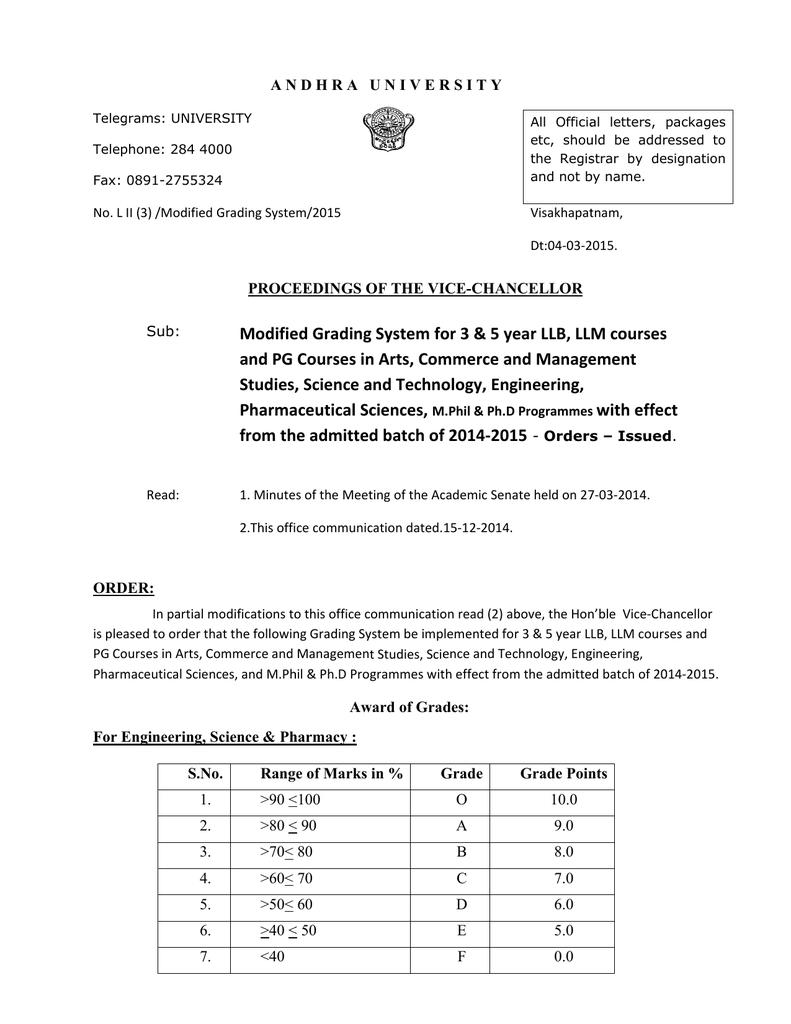 PG Grading System  - Andhra University