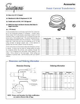 donut current transformers accessories rh studylib net 3 Phase CT Connection Diagram Primary Metering Diagrams