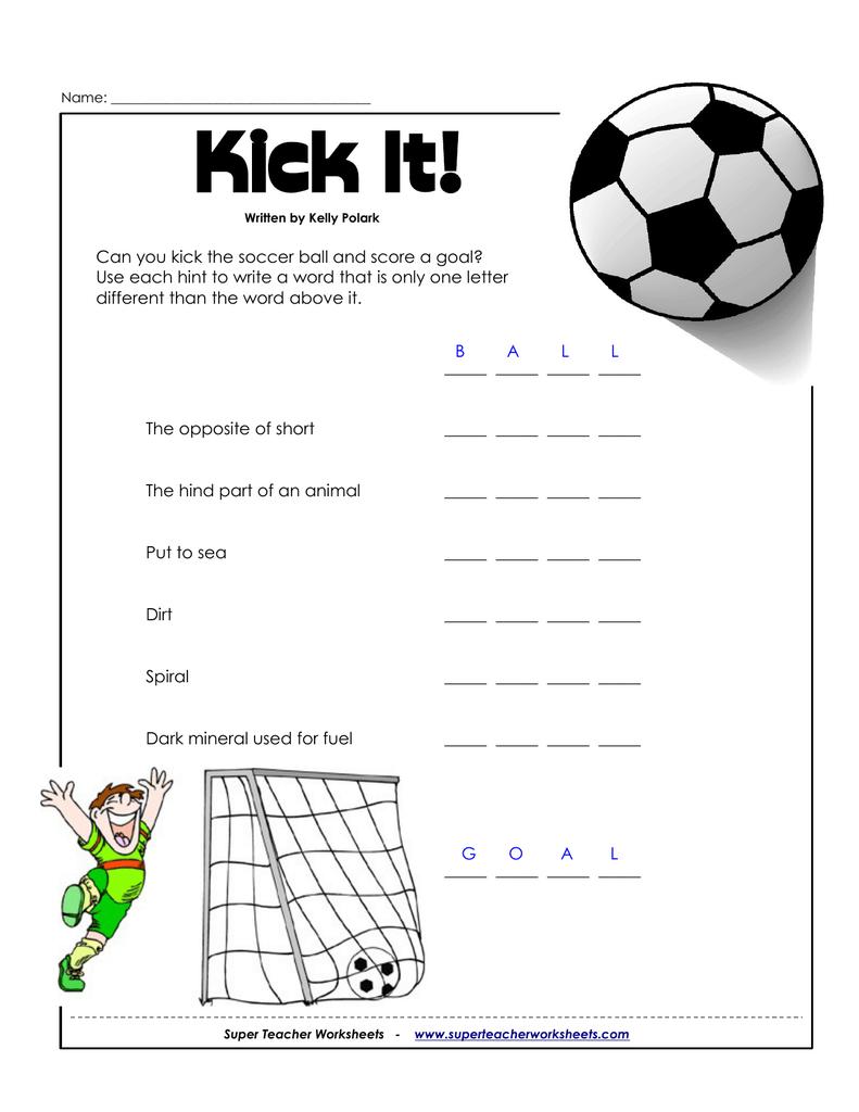 Kick It! - Super Teacher Worksheets