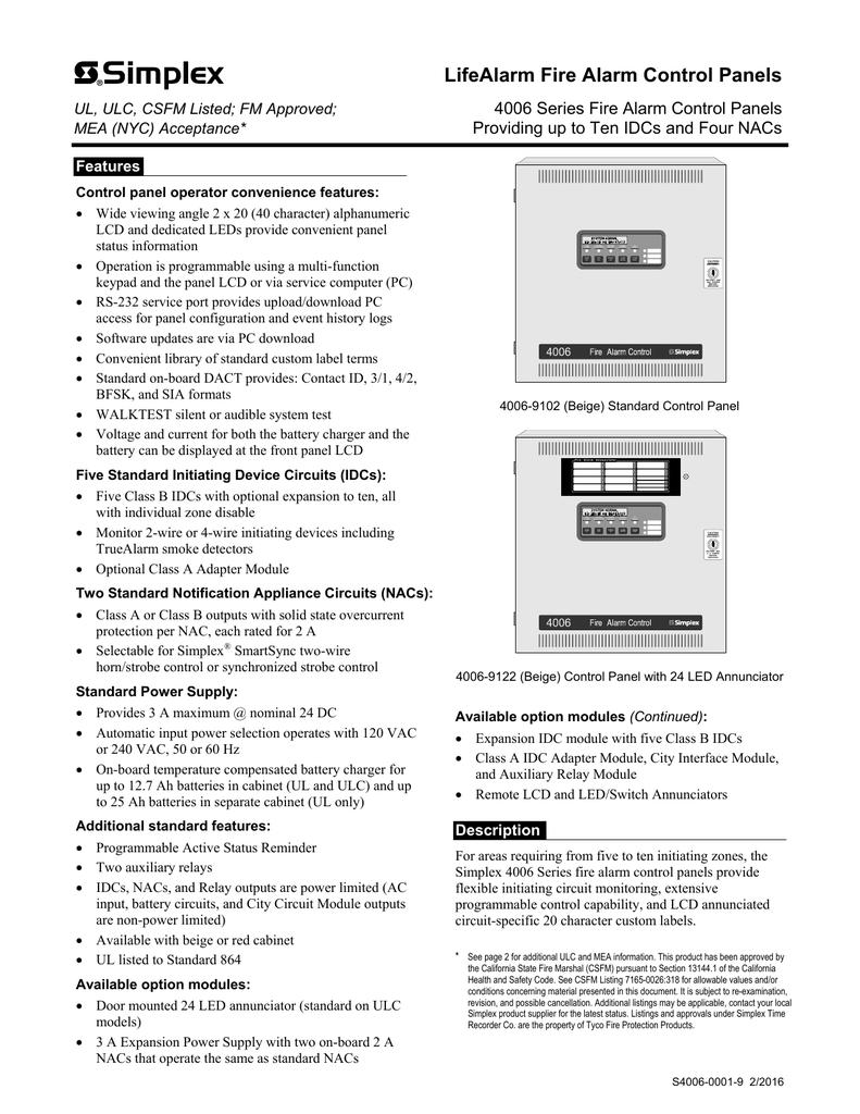 LifeAlarm Fire Alarm Control Panels