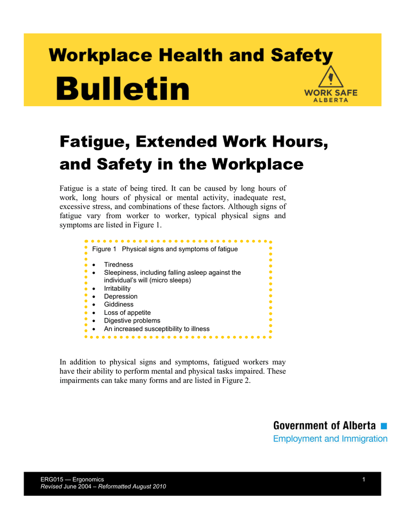 Fatigue, Extended Work Hours, and Safety in the Workplace