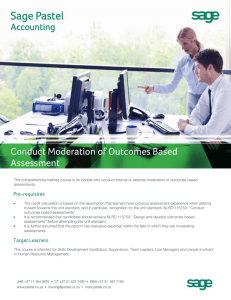 Conduct Moderation of Outcome Based Assessment Course Outline