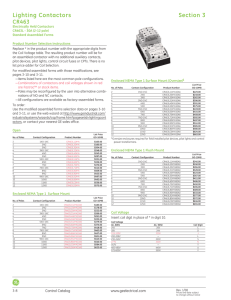 GE Control Catalog - Section 3: Lighting Contactors