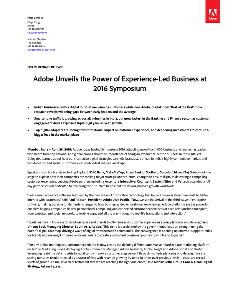 Adobe Unveils the Power of Experience