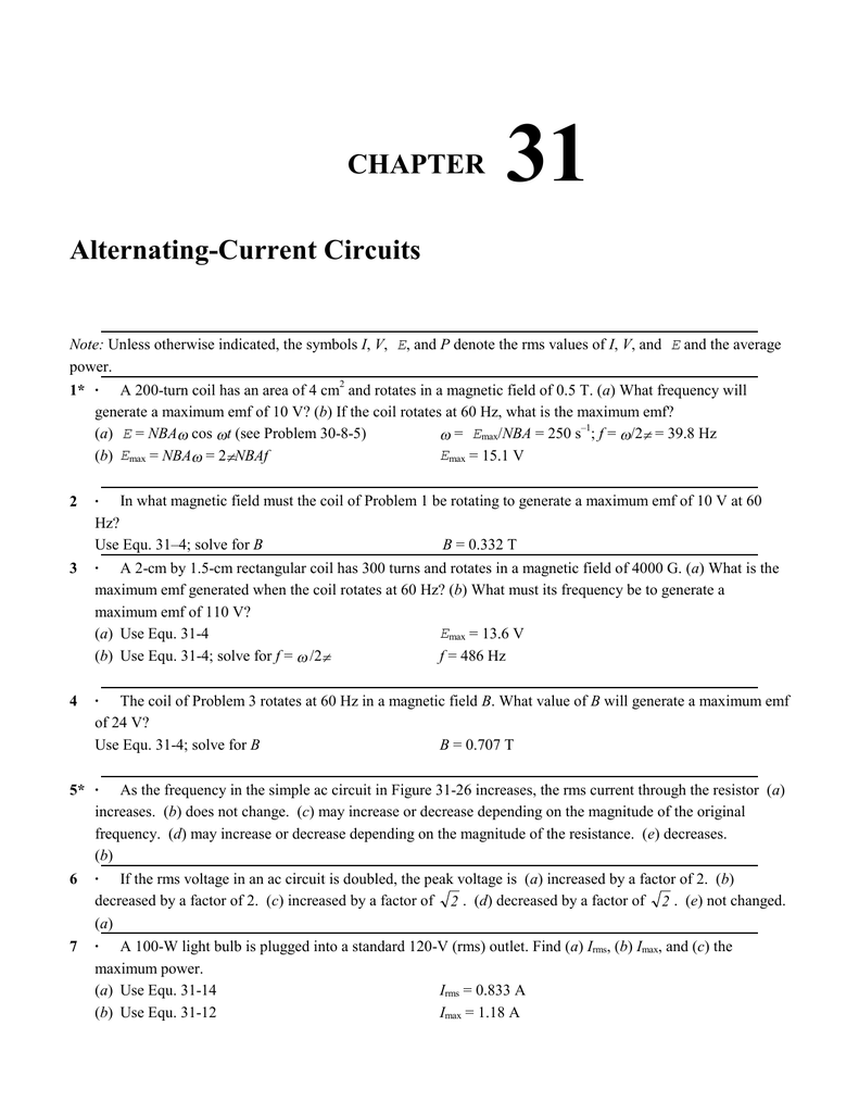 Chapter 31 Alternating Current Circuits Rlc Circuit Transfer Function Through Differential Equation Band