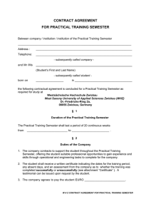 contract agreement for practical training semester