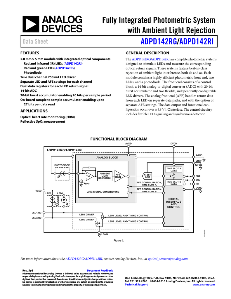 Adpd142rg Bcez Rl Datasheet Photodiodes Signal Conditioning Ic