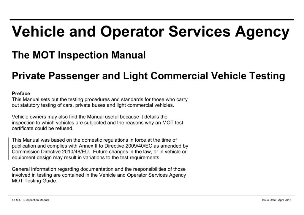 mot inspection manual rh studylib net VOSA MOT Check Online VOSA MOT History