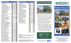 Rental Price List - East Coast Lumber
