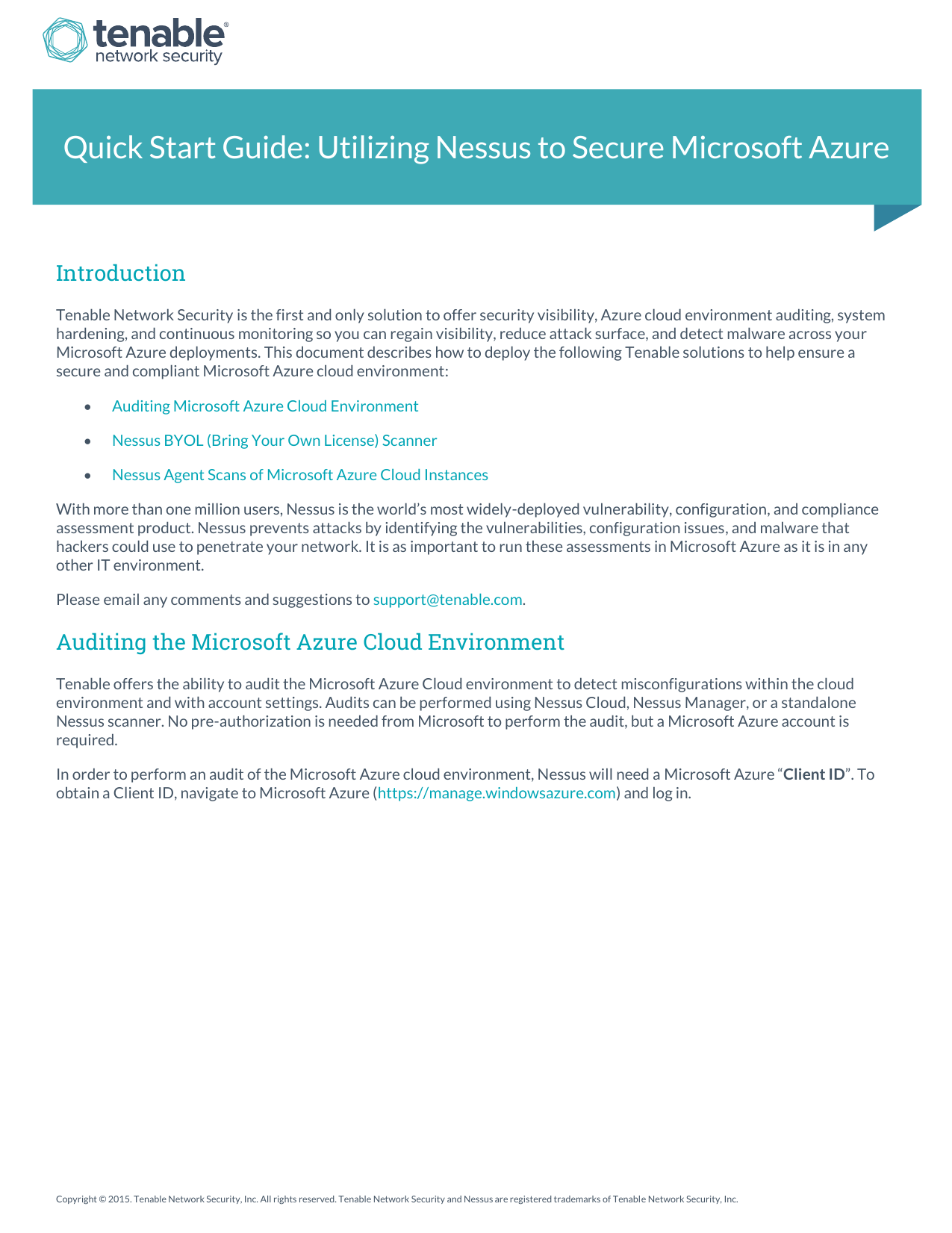 Quick Start Guide: Utilizing Nessus to Secure Microsoft Azure
