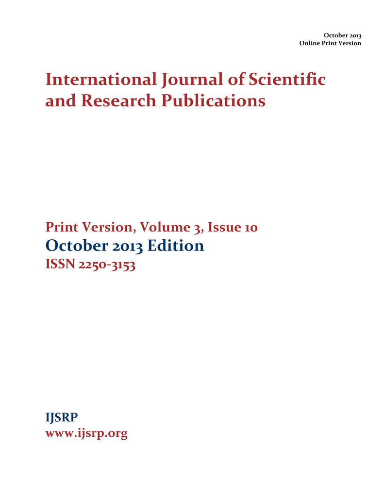ijsrp oct 2013 print international journal of scientific and