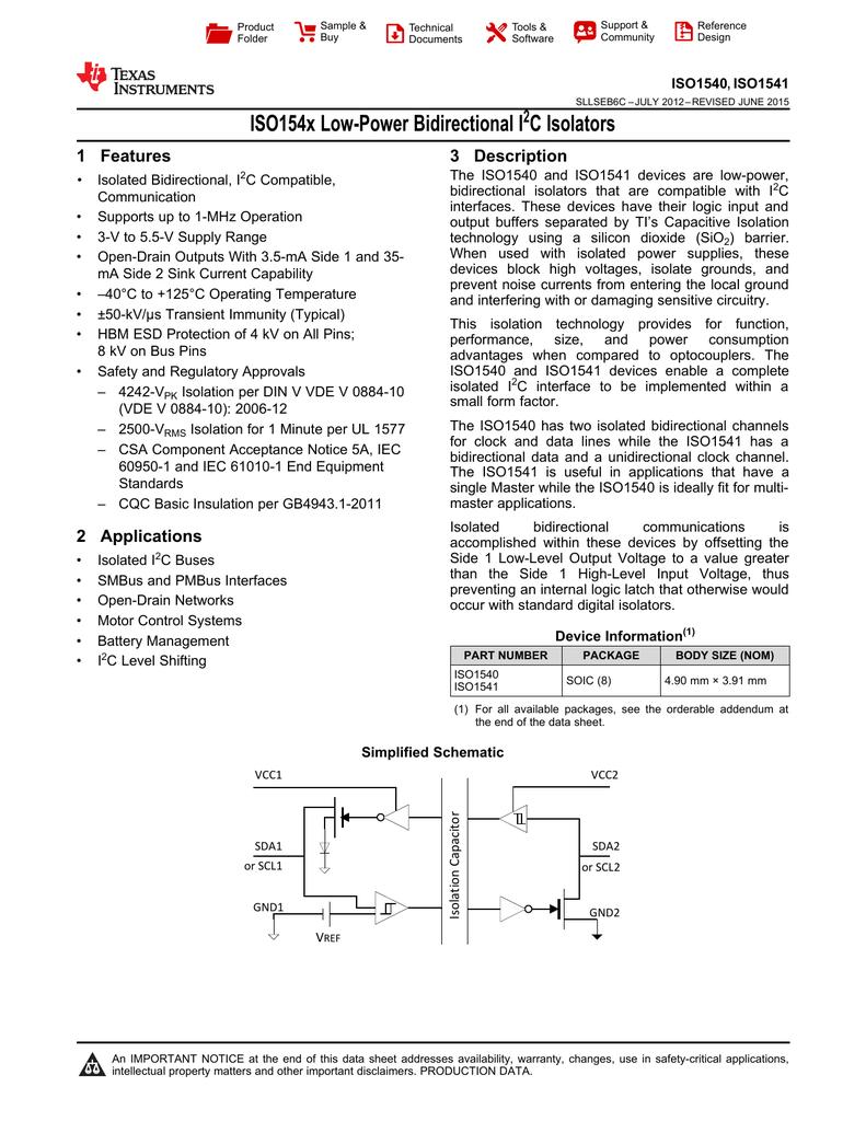 ISO154x Low-Power Bidirectional I 2 C Isolators (Rev  C)